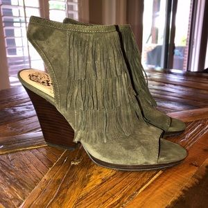 Shoes - Vince Camuto Olive Green Suede heels